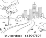 road city graphic black white... | Shutterstock .eps vector #665047507