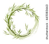 round frame with bamboo... | Shutterstock .eps vector #665083663