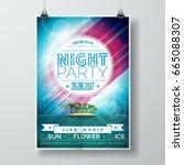 vector summer night party flyer ... | Shutterstock .eps vector #665088307