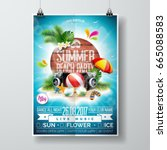 vector summer beach party flyer ... | Shutterstock .eps vector #665088583