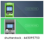 atm machine in bank or office...   Shutterstock .eps vector #665095753