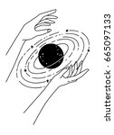 two hands holding a planet.... | Shutterstock .eps vector #665097133