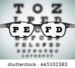 eye glasses on eyesight test... | Shutterstock .eps vector #665102383