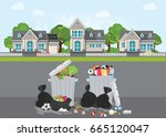 rubbish and dirty area at the... | Shutterstock .eps vector #665120047