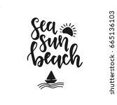 sea sun beach. hand drawn... | Shutterstock .eps vector #665136103