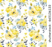 Stock photo watercolor bright summer pattern yellow and blue abstract flowers 665136133