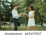 the student asks for the book... | Shutterstock . vector #665157037