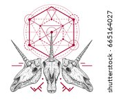 unicorn skull with tribal... | Shutterstock .eps vector #665164027