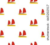 vietnamese junk boat pattern... | Shutterstock . vector #665202517