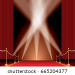vector opened red curtain stage ... | Shutterstock .eps vector #665204377