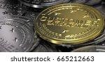 3d illustration of golden... | Shutterstock . vector #665212663