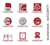 red and gray furniture and...   Shutterstock .eps vector #665228977