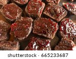 chocolate brownies with cherry... | Shutterstock . vector #665233687