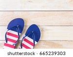 Flip Flops With Red White And...