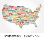 usa map word cloud collage with ... | Shutterstock . vector #665249773