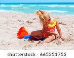 cute little girl play with sand ... | Shutterstock . vector #665251753