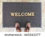 welcome carpet gray color with... | Shutterstock . vector #665262277