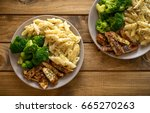 chicken broccoli alfredo.... | Shutterstock . vector #665270263