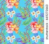 hawaii background.watercolor | Shutterstock . vector #665272663