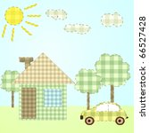house and car in cartoon style | Shutterstock .eps vector #66527428