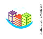 building icon  flat logo design ... | Shutterstock .eps vector #665287567