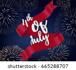 fourth of july lettering  on...   Shutterstock .eps vector #665288707