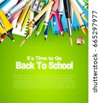 back to school template with... | Shutterstock .eps vector #665297977