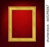 vintage gold picture frame on... | Shutterstock .eps vector #665298367