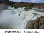 "Small photo of Nicknamed ""Niagara of the West,"" at 212 feet in height, Shoshone Falls is taller than the aforementioned. It is located in the Snake River canyon near Twin Falls, Idaho and shown flowing high."