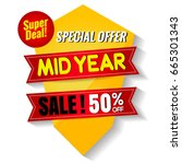midyear sale banner  | Shutterstock .eps vector #665301343