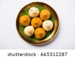 modak is an indian sweet... | Shutterstock . vector #665312287
