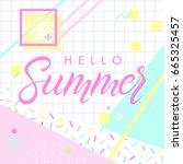 hand drawn lettering hello... | Shutterstock .eps vector #665325457