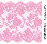 seamless vector pink lace... | Shutterstock .eps vector #665328397