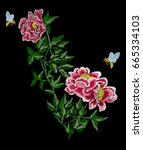 embroidery fashion floral... | Shutterstock .eps vector #665334103