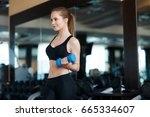young sporty woman in the gym... | Shutterstock . vector #665334607