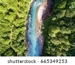 aerial view of blue river | Shutterstock . vector #665349253