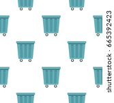 outdoor blue trash can made of... | Shutterstock . vector #665392423