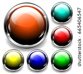 set of 3d glossy spheres with... | Shutterstock .eps vector #665406547