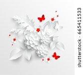 paper flower. lotus cut from... | Shutterstock .eps vector #665411533