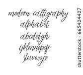 decorative hand drawn alphabet. ... | Shutterstock .eps vector #665424427