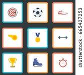 flat icons ball  kettlebells ... | Shutterstock .eps vector #665427253