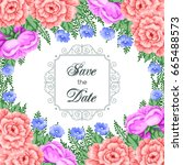 save the date card template... | Shutterstock .eps vector #665488573