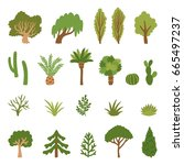 vector set of different trees... | Shutterstock .eps vector #665497237
