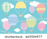 vector illustration of hot air... | Shutterstock .eps vector #665504977