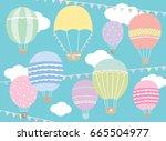 vector illustration of hot air...   Shutterstock .eps vector #665504977