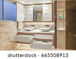 modern washroom with soap... | Shutterstock . vector #665508913