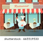 chef invites to the restaurant. ... | Shutterstock .eps vector #665519533