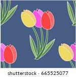 seamless pattern. three tulips... | Shutterstock .eps vector #665525077