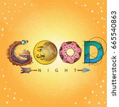 vector text good night with... | Shutterstock .eps vector #665540863