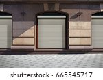 closed shutters on show window... | Shutterstock . vector #665545717